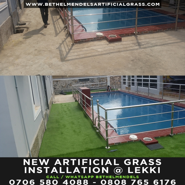 Artificial Grass Installation at swimming pool side